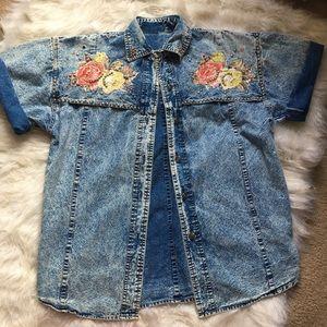 Vintage Acid Wash Blue Jean Appliqué Top